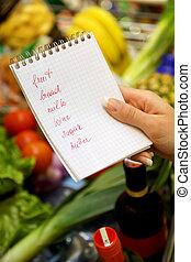nakupování, v, ta, supermarket, s, jeden, shopping seznam,...
