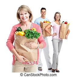 nakupování, woman.