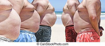 nalany, bardzo, mężczyźni, tłuszcz, piątka, plaża