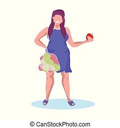 nalany, kobieta jedzenie, jabłko, obciążać stratę, owoc, owoce, nieszczęśliwy, litera, dieta, smutny, długość, pojęcie, pełny, tłuszcz, samica, dzierżawa, dziewczyna, płaski, rysunek