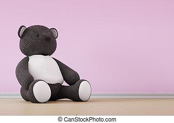 nallebjörn, på, vägg