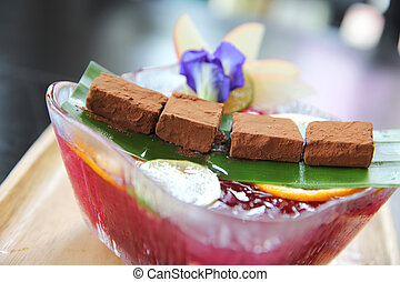 Nama Chocolate with mix fruit juice