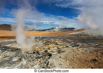 namafjall, geothermisch, bereich, hverir, island