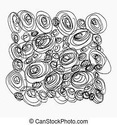 namalovaný, čerň, abstraktní, kruh, bublat, osamocený,...