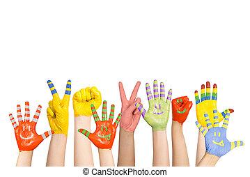 namalovaný, dítě, ruce
