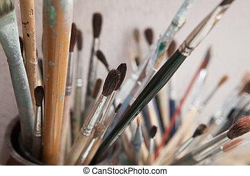 namalujcie szczotki, w, słój, w, przedimek określony przed rzeczownikami, studio, od, artist.