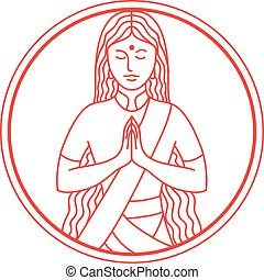 namaste-CIRC-MLINE - Icon style illustration of an Indian...