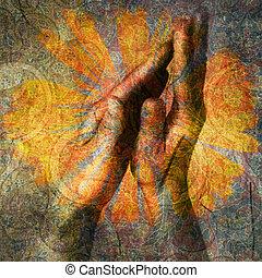 Namaste - Hands in prayer. Photo based illustration.