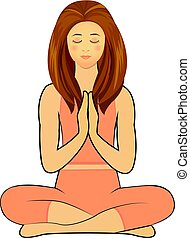 namaste, concetto, posa yoga, pratica, donna
