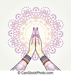 Namaste Decorated - Hands decorated greeting position...