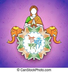 namaste, donna, mahan, testo, india, grande, significato, indiano, hindi, fondo, mera, bharat, mio, gesto