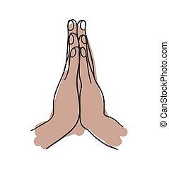 Namaste gesture hand drawn icon isolated on white background...