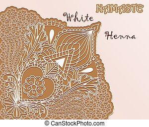 namaste, henné, pattern., arrière-plan., blanc, angulaire