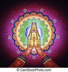 Namaste Mandala - Hands decorated greeting position...