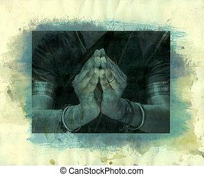 Namaste Mudra - Scanned Mixed Medium photo print of an...