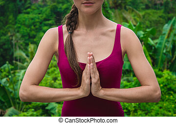 namaste, mulher, mãos, simbólico, mudra., budismo, hinduism, oração, gesto
