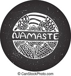 Detailed hand drawn zentangle logo - Namaste sign on...