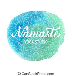 Namaste yoga logo - Namaste. Yoga studio logo with elegant...