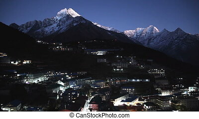 Namche Bazaar at night timelapse, Everest trek, Himalaya,...