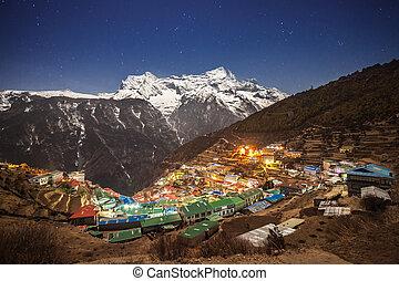 Namche Bazaar, Nepal - Namche Bazaar aerial view, Everest...