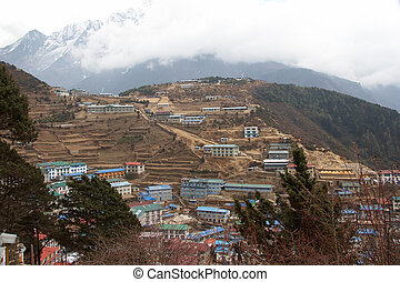 Namche Bazaar panorama, Everest trail, Nepal