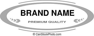 name., フレーム, ベクトル, label., オバール, モノクローム, 線, ブランド, design.