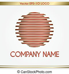 name, abstrakt, gold, logo, vektor, rotes , runder , firma