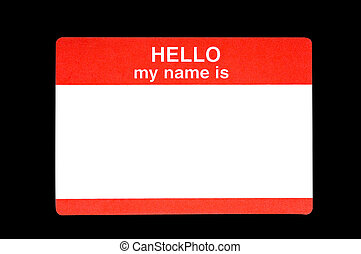 Name Badge - Red name badge with the words Hellow my name is...