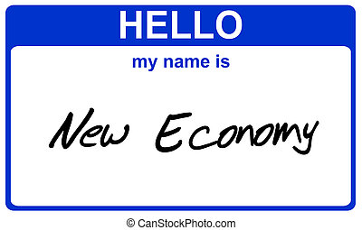 name new economy - hello my name is new economy blue sticker