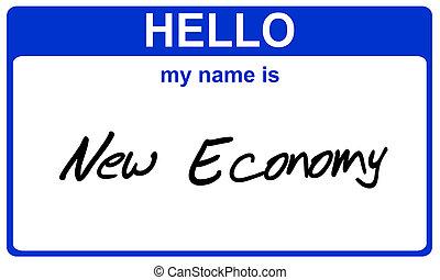 name new economy - hello my name is new economy blue sticker
