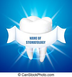 Name of stomatology. Tooth on a blue background.