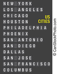 Name of US Cities on Airport Flip Board - Name of American...
