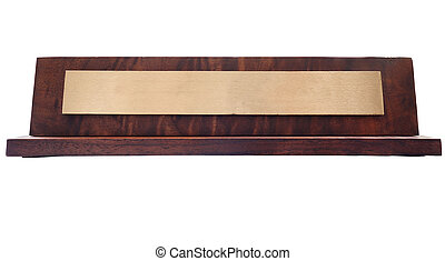 Name plate - Blank wooden nameplate isolated on white...