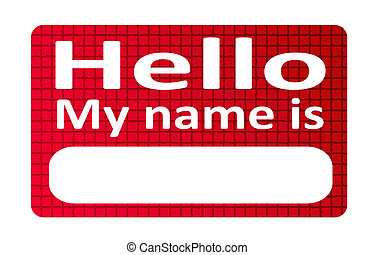 Name - Red and blank name tag sticker over white background
