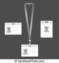 Name tag holder, lanyard badge set with icons