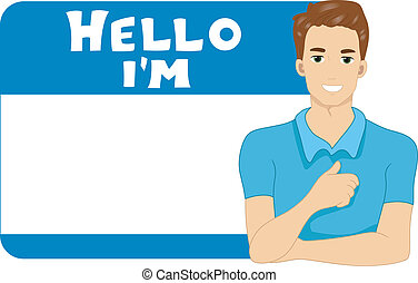 Name Tag Man - Illustration of a Blank Name Tag for a Man