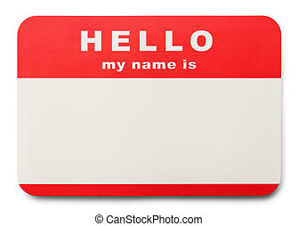 Name Tag - Red Hello My Name Is Tag with Copy Space,...