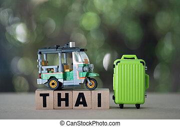name, tuk, miniatur, koffer, drei, thailand, taxifahrzeuge, ...