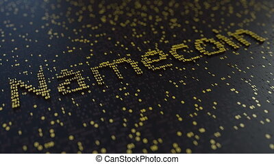 Namecoin word made of moving golden numbers. Cryptocurrency...