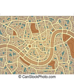 Nameless city map - Editable vector illustration of a street...