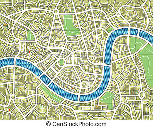 Nameless city map - Illustration of a street map without...
