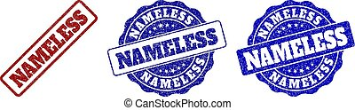 NAMELESS grunge stamp seals in red and blue colors. Vector NAMELESS marks with grunge surface. Graphic elements are rounded rectangles, rosettes, circles and text tags.