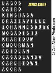 Names of African Cities on Split flap Flip Board Display