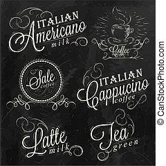 Names of coffee drinks espresso, latte, stylized inscriptions in chalk on a blackboard dark.