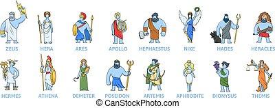 names., plat, grèce, ancien, vecteur, illustration., blanc, mythology., dieux, ensemble, panthéon, dessin animé, grec, arrière-plan., isolé, caractères