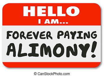 nametag, hallo, ik, ben, voor altijd, lonend, alimentatie,...