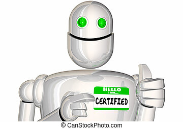 nametag, robot, illustratie, vergunning gegeven, gekwalificeerd, goedgekeurd, verklaard, 3d