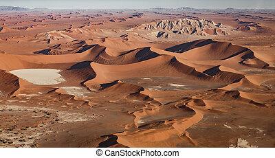 namib, aéreo, dunas, arena, desierto, vista