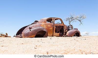 namib, coche, abandonado, desierto