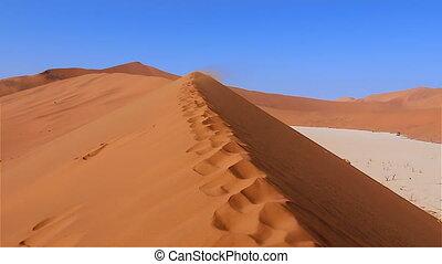 Namib desert dune zoom Sossusvlei - Zoom in moving over...